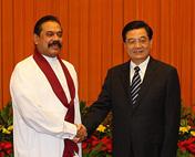 胡锦涛会见斯里兰卡总统